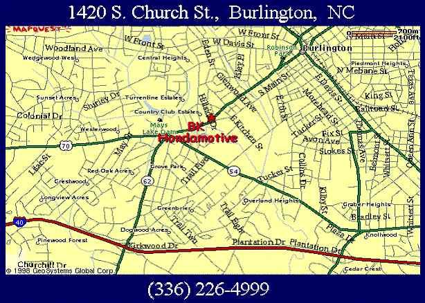 Map to BK Hondamotive - 1420 S. Church St., Burlington, NC.